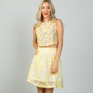 Abby Floral Embroidered Crop Top & Skirt Skirt